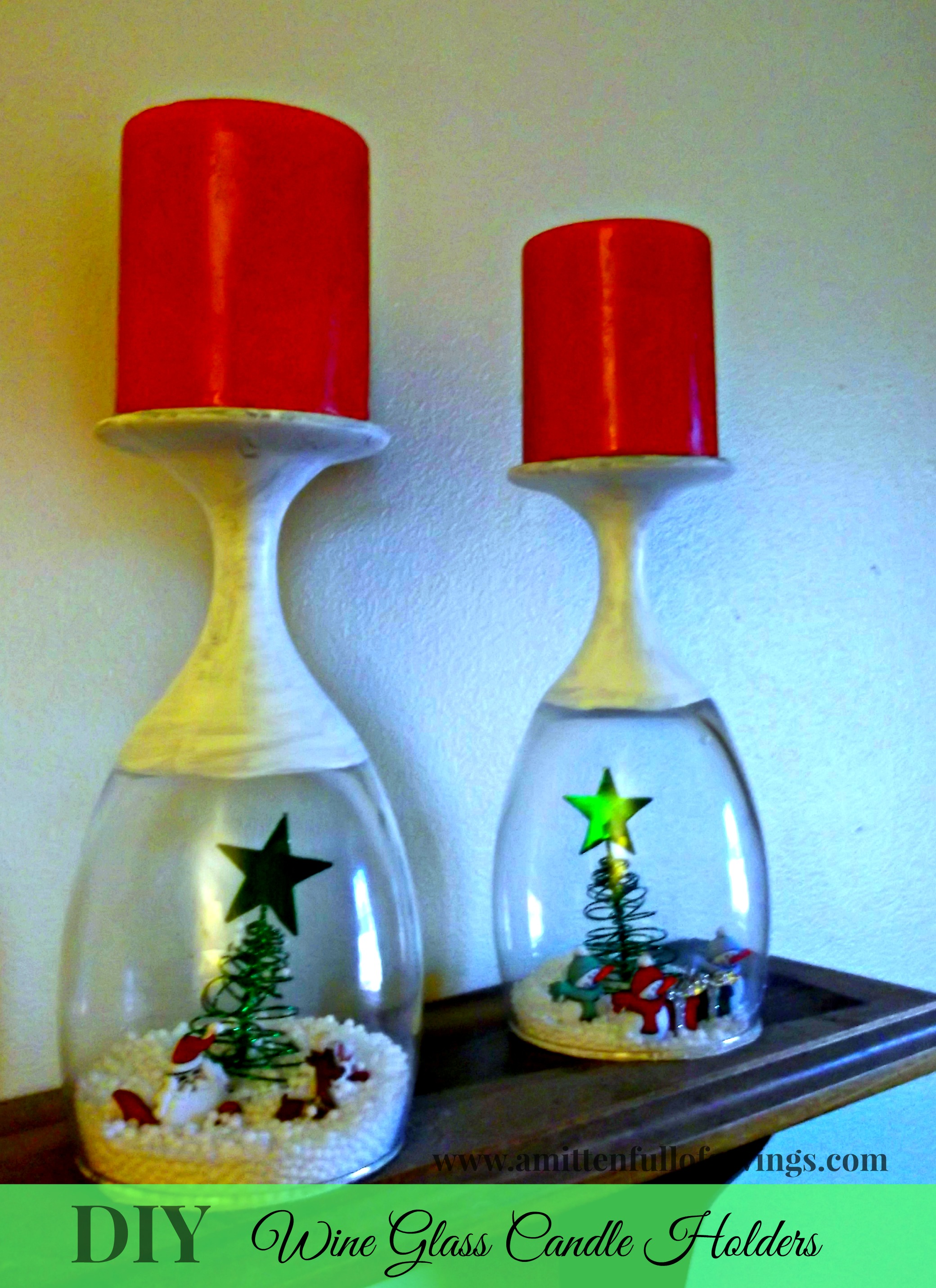 Diy christmas wine glasses candle holder this worthey life for Christmas candle displays