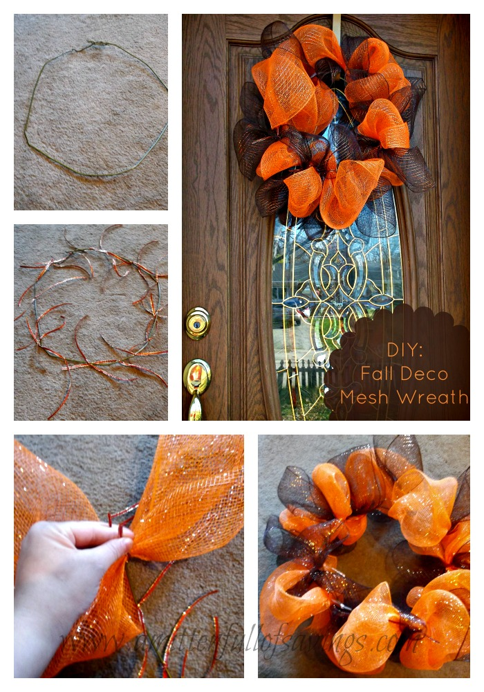 fall deco mesh wreath collage