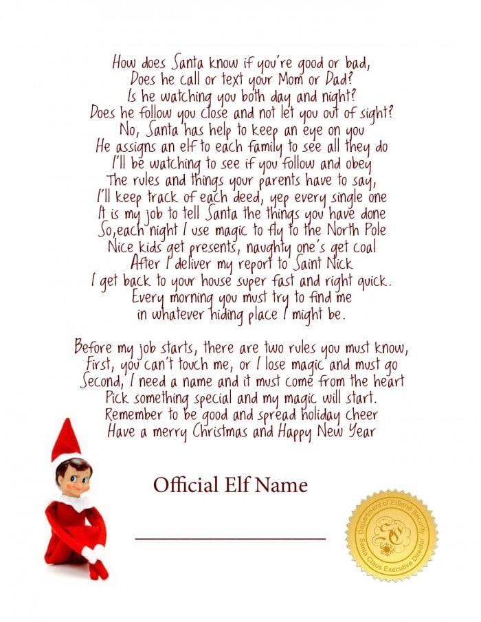 Elf on the shelf free printable