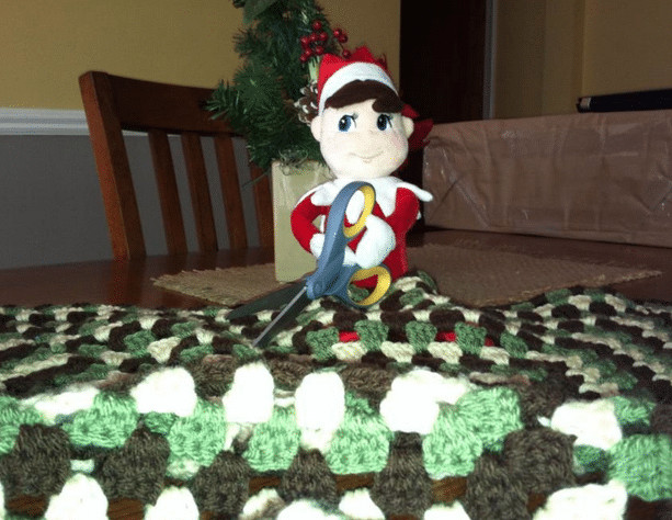 Elf on the shelf gets in trouble