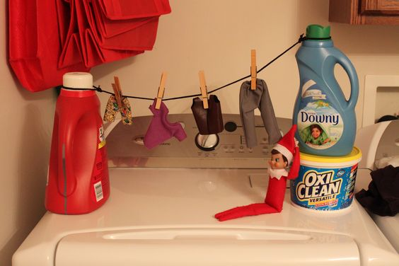 Elf does laundry