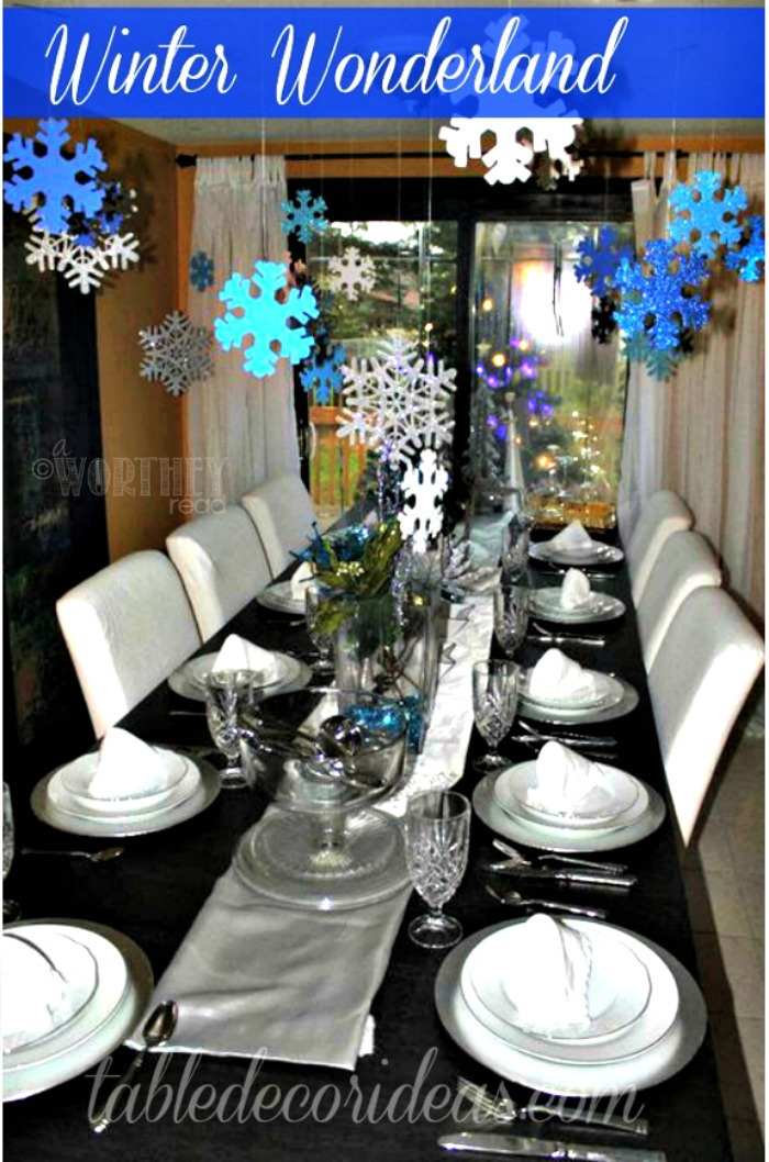 Winter Wonderland Decor Idea- If you're planning on throwing a winter party and need ideas, this is a great Winter Decor Idea to check out!