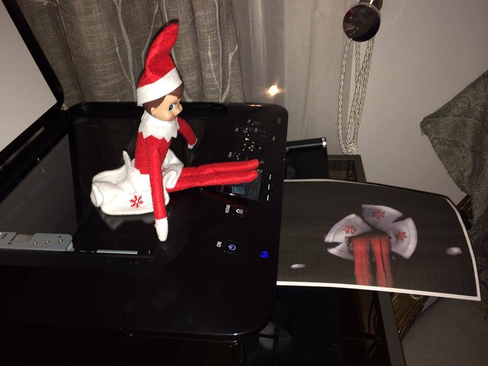 Elf having fun at the Christmas office party