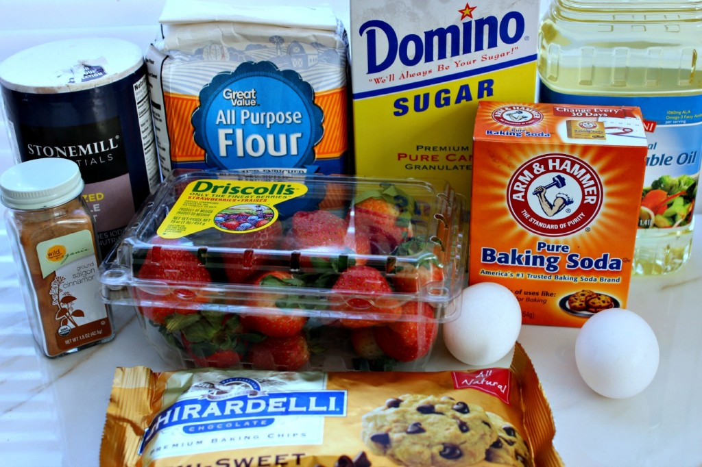 Strawberry Chocolate Chip Quick Bread ingredients