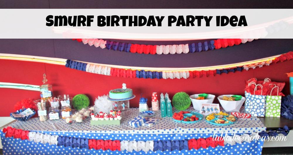 smurf birthday party table decor idea