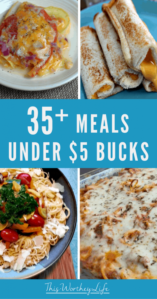 We all love saving money on food. We've rounded up 35 budget-friendly dinner ideas under $5 bucks!  Get easy dinner ideas that are quick to make, plus budget-friendly! Head to the blog to see a roundup of dinner ideas!