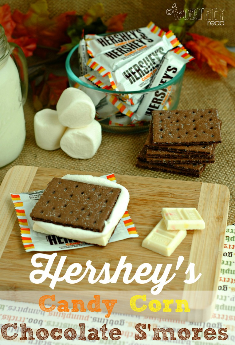 S'mores is super popular right now and you don't have to wait for a campfire to make these! Here's an EASY recipe for Hershey's Candy Corn Chocolate S'mores