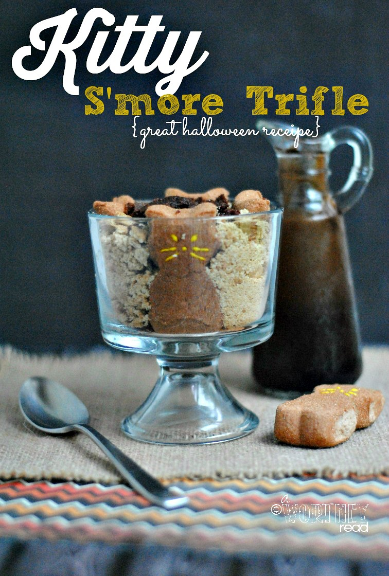 Easy Halloween Recipe that everyone will love, Great for a Halloween treat for the Classroom : Halloween Kitty S'more Trifle recipe