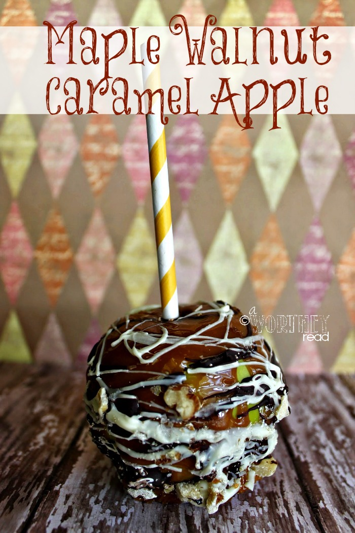 Maple Walnut Caramel Apple recipe- A yummy sweet Fall indulgence this apple is smothered in layers of sweet goodness.