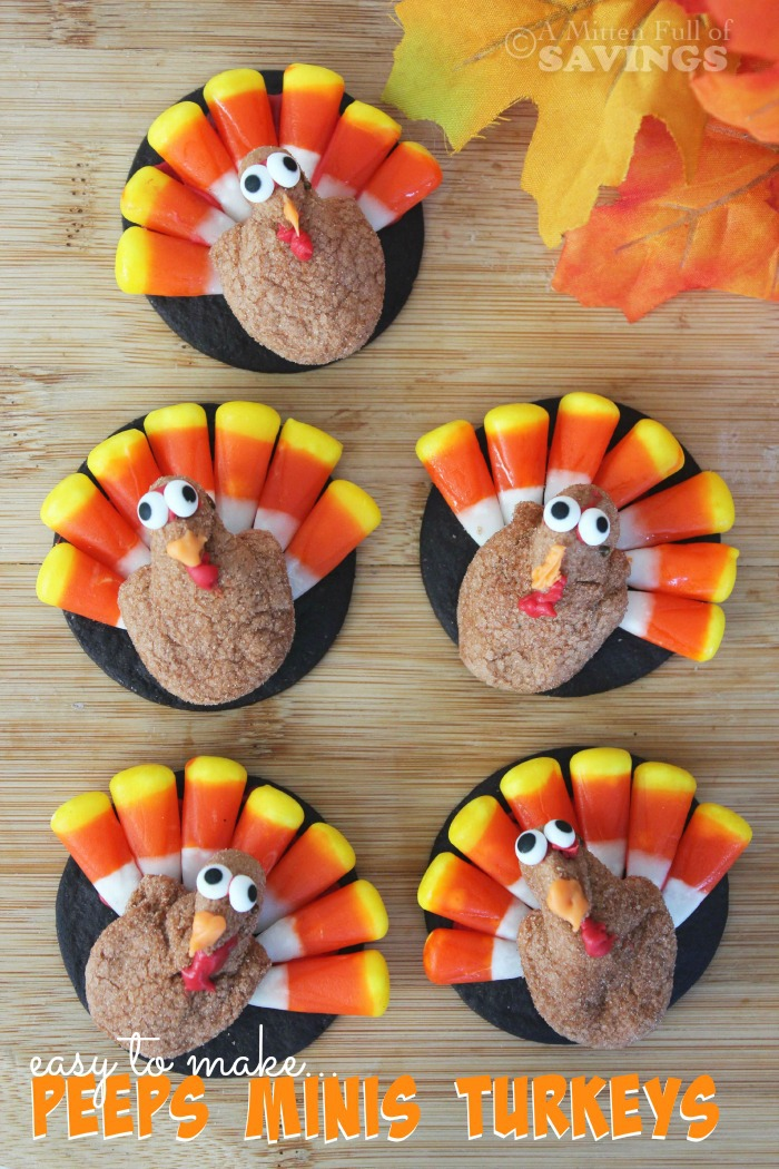 Get creative and have fun with this easy to make Thanksgiving Treat- Peeps Minis Turkeys Everyone loves a good peeps treat!