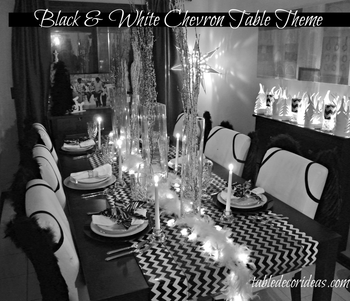 Table Decor Idea Chevron Black amp White Christmas Theme