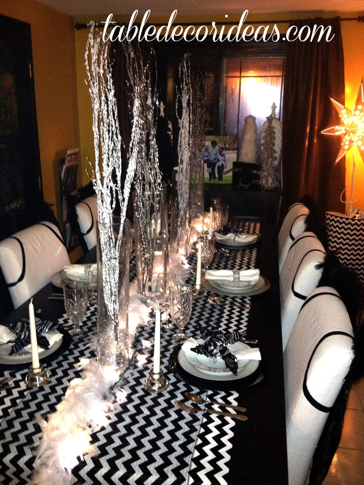 Black and White Chevron Theme Great Christmas decor idea or for a Black and White Tie Party!
