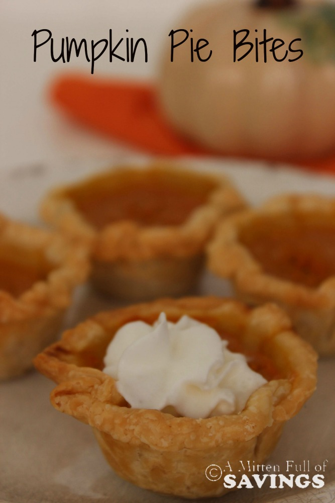 Great Pumpkin recipe that is perfect for a Thanksgiving or Fall Dessert. Try this easy recipe for Pumpkin Pie Bites. A taste of deliciousness all wrapped up in a tiny bite! Pin it now!