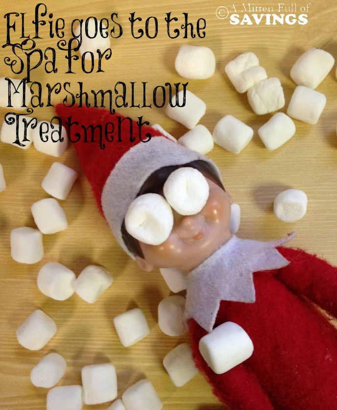 Elf on The Shelf Ideas: Elfie Gets a Marshmallow Treatment