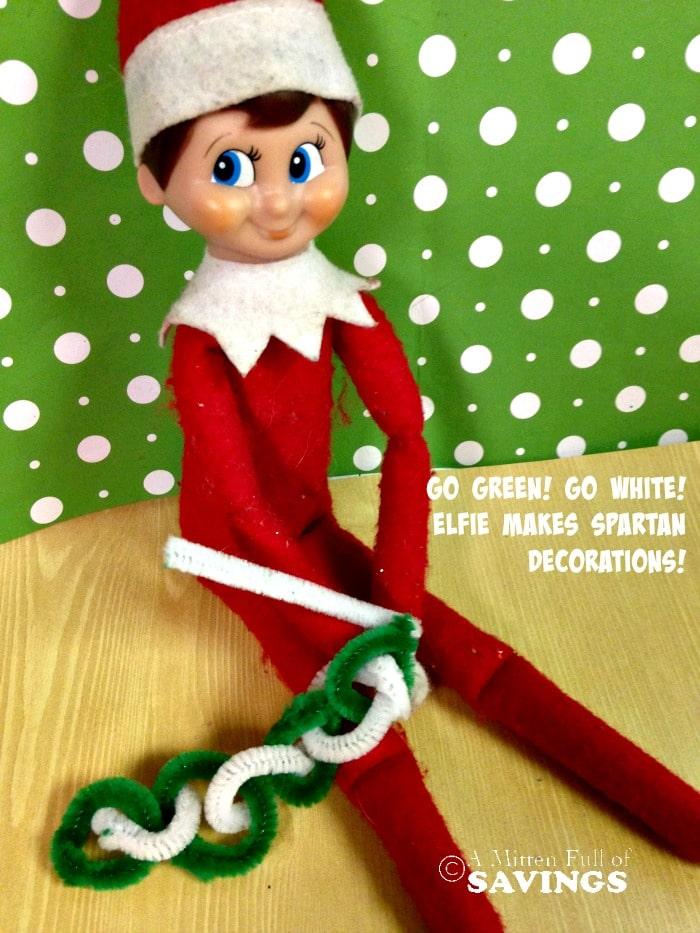 Elf on The Shelf Ideas: Go Green Go White Spartan Decor