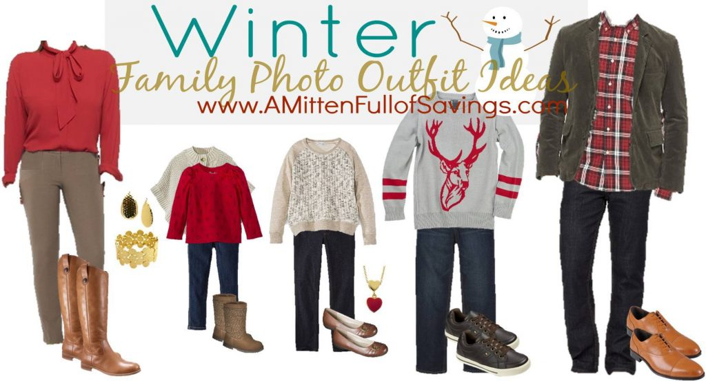 Red & Brown Winter Family Photo Outfits Ideas