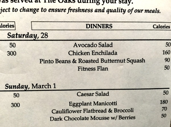 Menu at The Oaks