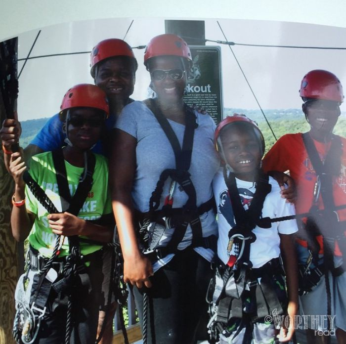 The Worthey Family at Branson Zipline