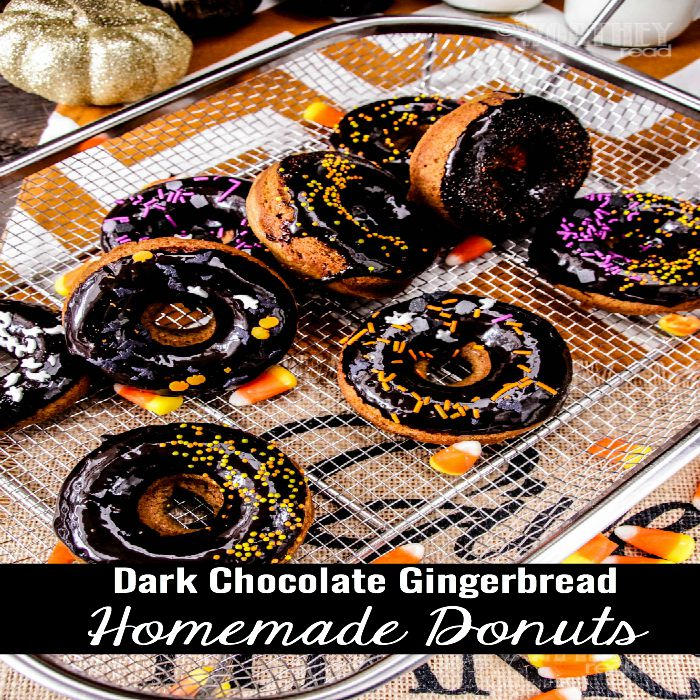 Dark Chocolate Gingerbread Homemade Donuts