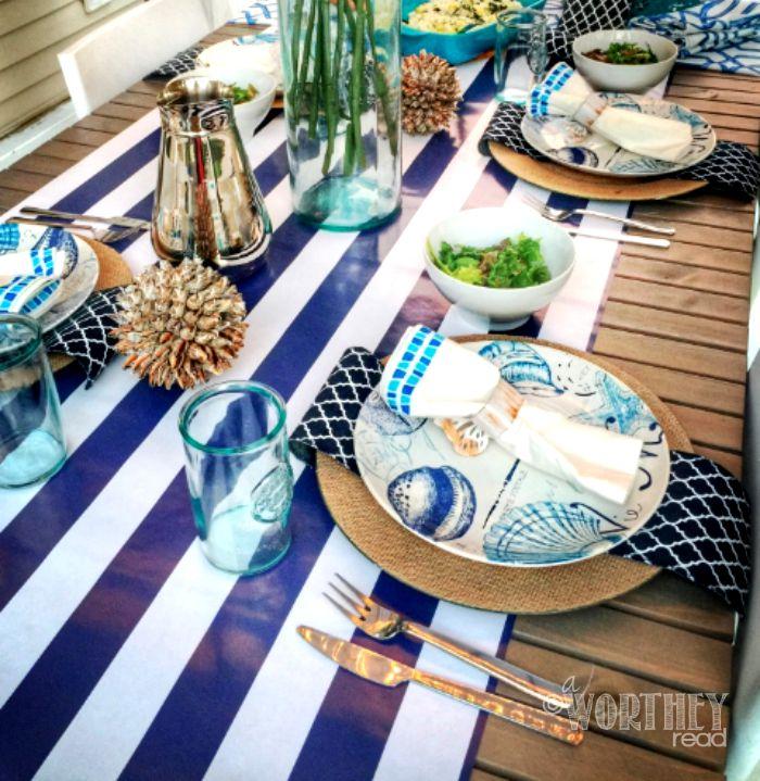 Nautical Theme Tablescape Idea Decor