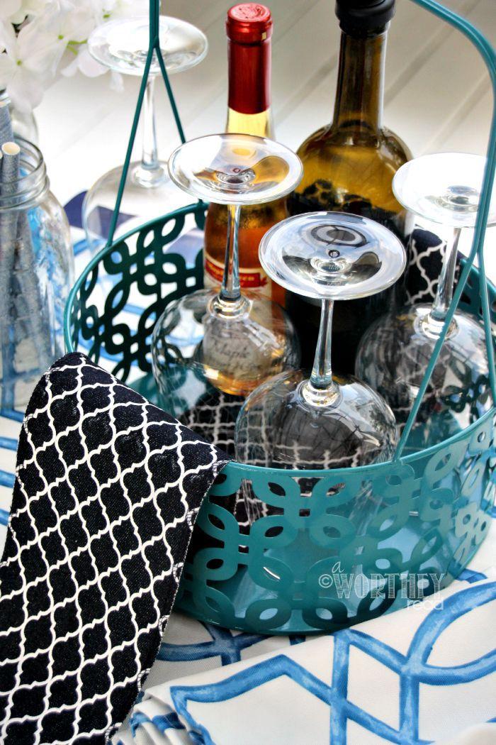 Wine Basket Table Decor