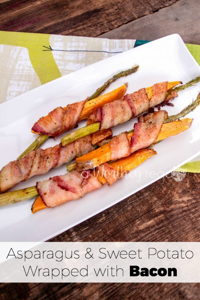 Everyone loves a meal with bacon in it! Add a little asparagus and sweet potatoes to make this easy appetizer: Asparagus & Sweet Potato Wrapped with Bacon