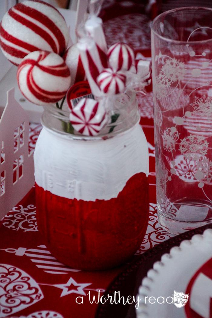 Red & White Christmas Mason Jars
