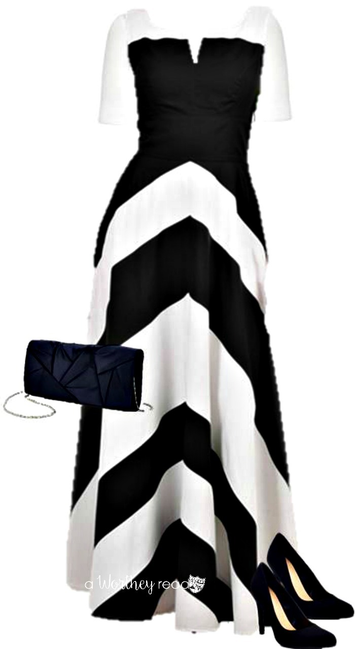 Style A Maxi Dress For Fall Black & White - easy and comfortable women's fashion idea