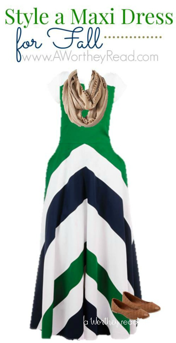 Maxi Dress Pattern styling ideas are so easy! Check out our tips for how to Style A Green & White Maxi Dress Pattern For Fall!