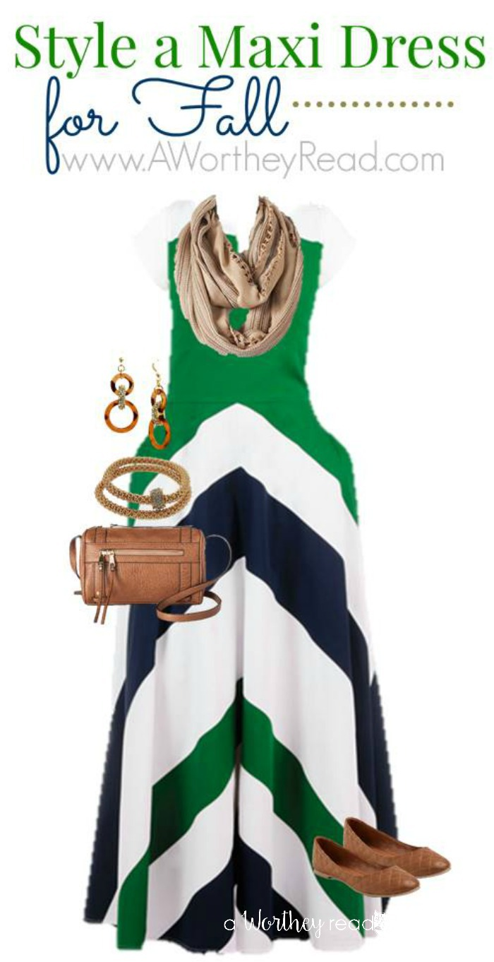 Style A Maxi Dress For Fall Green & White