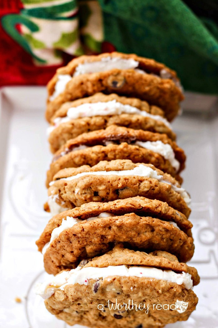 Chocolate Chip & Oatmeal Cookies with Candy Cane Buttercream