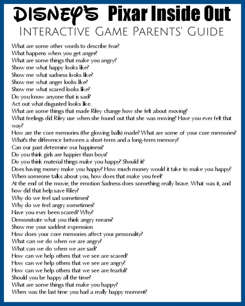 Inside Out Interactive Game Parent's Guide