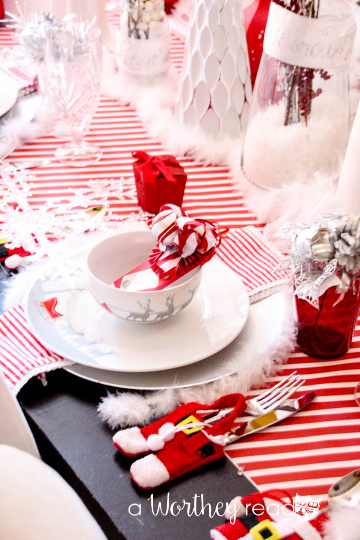 Red White Silver Christmas Tablescape This Worthey