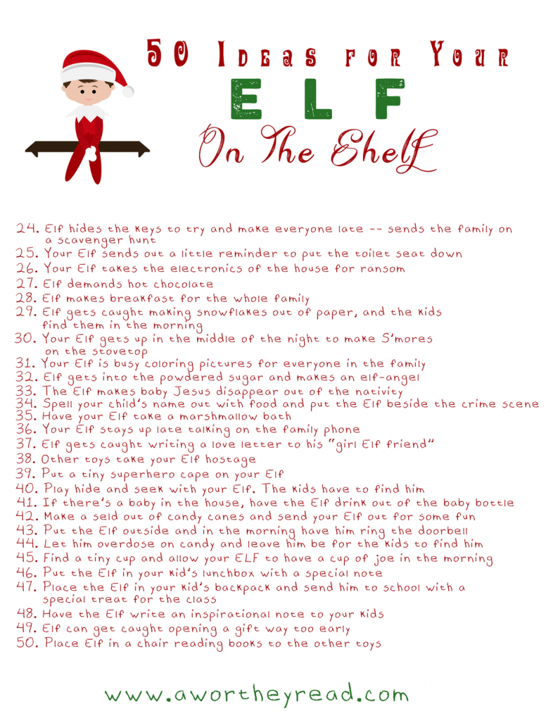 Elf on the Shelf 50 Ideas Printable