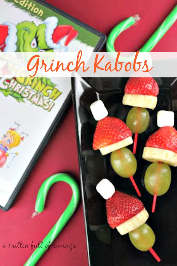 Easy Holiday party treat: Grinch Kabobs