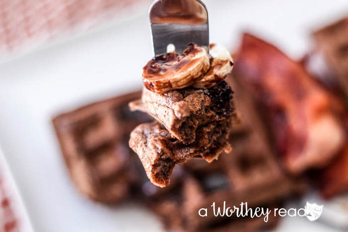 Double Chocolate Buttermilk Waffles with Bananas-11
