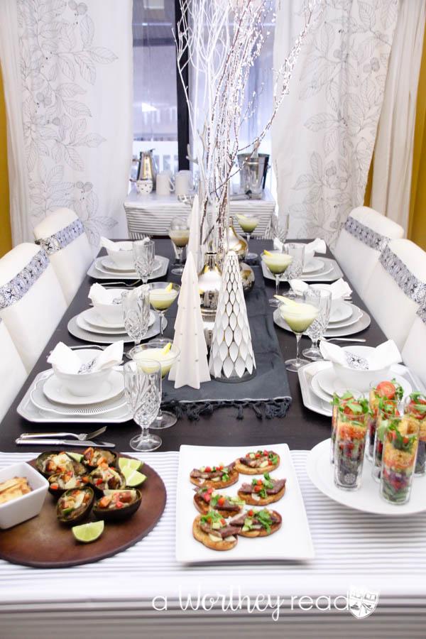 White & Silver Award Show Dinner Tablescape Idea