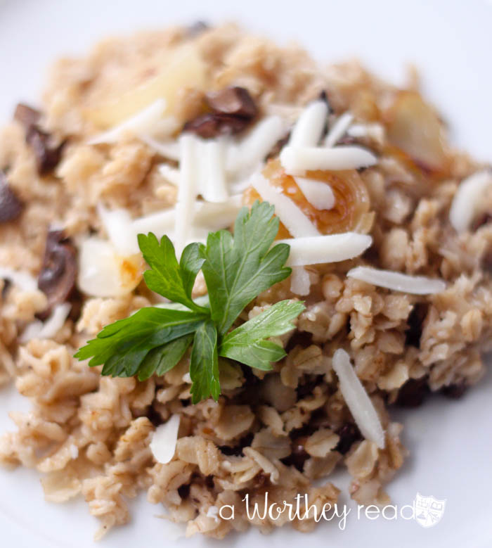 Quaker Old Fashioned Oats with Caramelized Onions, Mushrooms & Goat Cheese