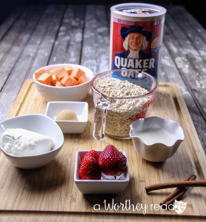 Quaker One-Minute Oatmeal with Brown Sugar Sweet Potato with Strawberries & Cinnamon Cream Cheese