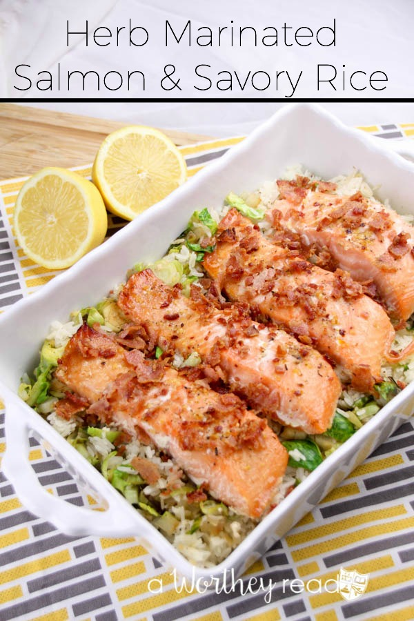 A delicate and delicious fish recipe filled with greens, savory rice and salmon! Our Herb Marinated Salmon & Savory Rice will not only have everyone wanting seconds, but it's a balanced dinner idea!