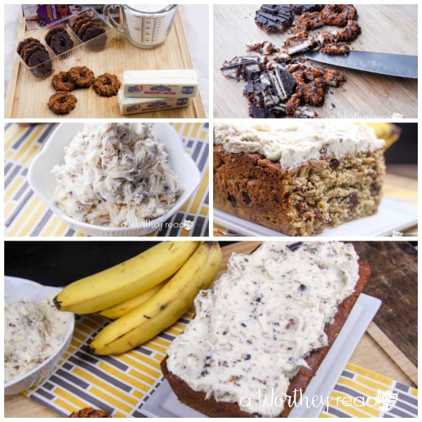 Life just took on a whole new meaning for our Banana Bread recipe with the Girl Scout Somoas Cookies- Banana Bread with Samoas Buttercream Recipe