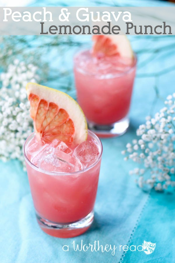 Summer cocktail- Peach & Guava Lemonade Punch