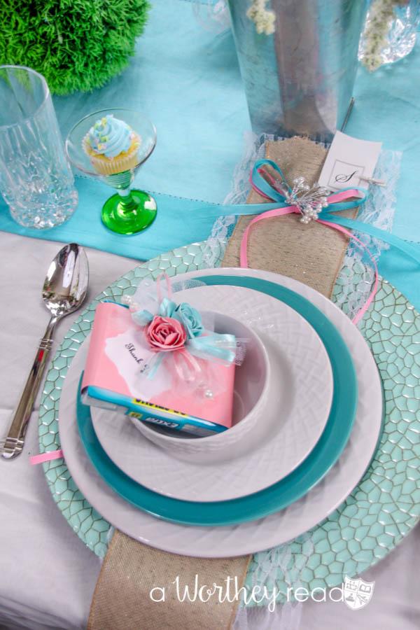 Salmon and Coral Blue Wedding Tablescape Idea-19