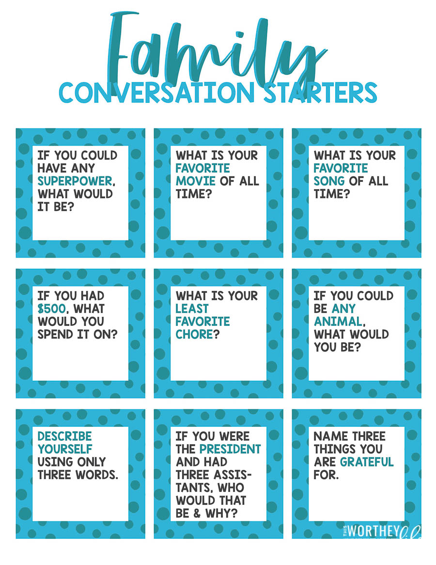 Family Conversation Starter printables