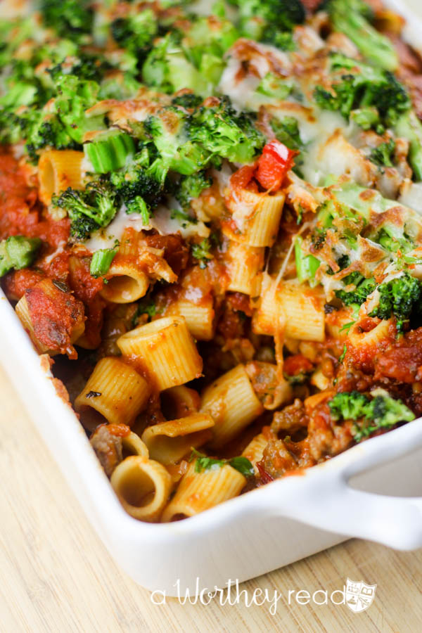 Easy Pasta Dish- Baked Rigatoni with Broccoli & Mozzarella