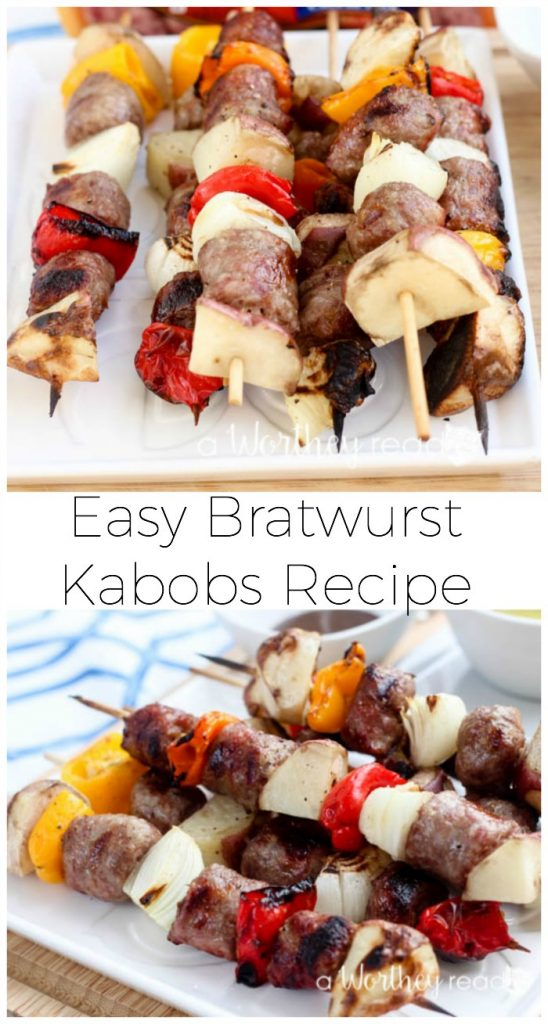 Easy dinner recipe idea. This easy kabob recipe is perfect for summertime grill. Easy Bratwurst Kabobs Recipe
