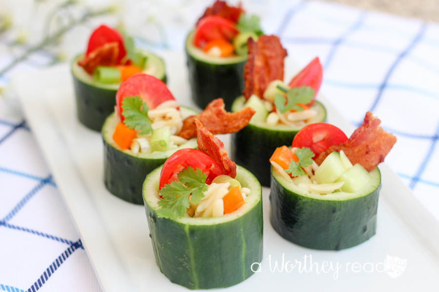 Party appetizer idea. Or appetizers for a BBQ or Tea Party, we have you covered with our Cucumber & Pasta Salad Sushi idea. These appetizers are filling, delicious and healthy!