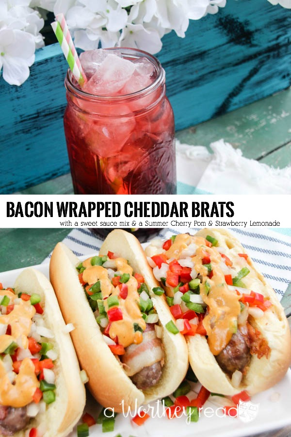 Easy summertime dinner idea under 20 minutes: Easy summer time meal under 20 minutes- Bacon Wrapped Cheddar Brats with sweet tomato sauce