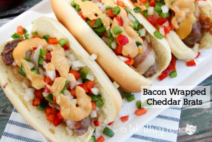 Easy summer time meal under 20 minutes- Bacon Wrapped Cheddar Brats