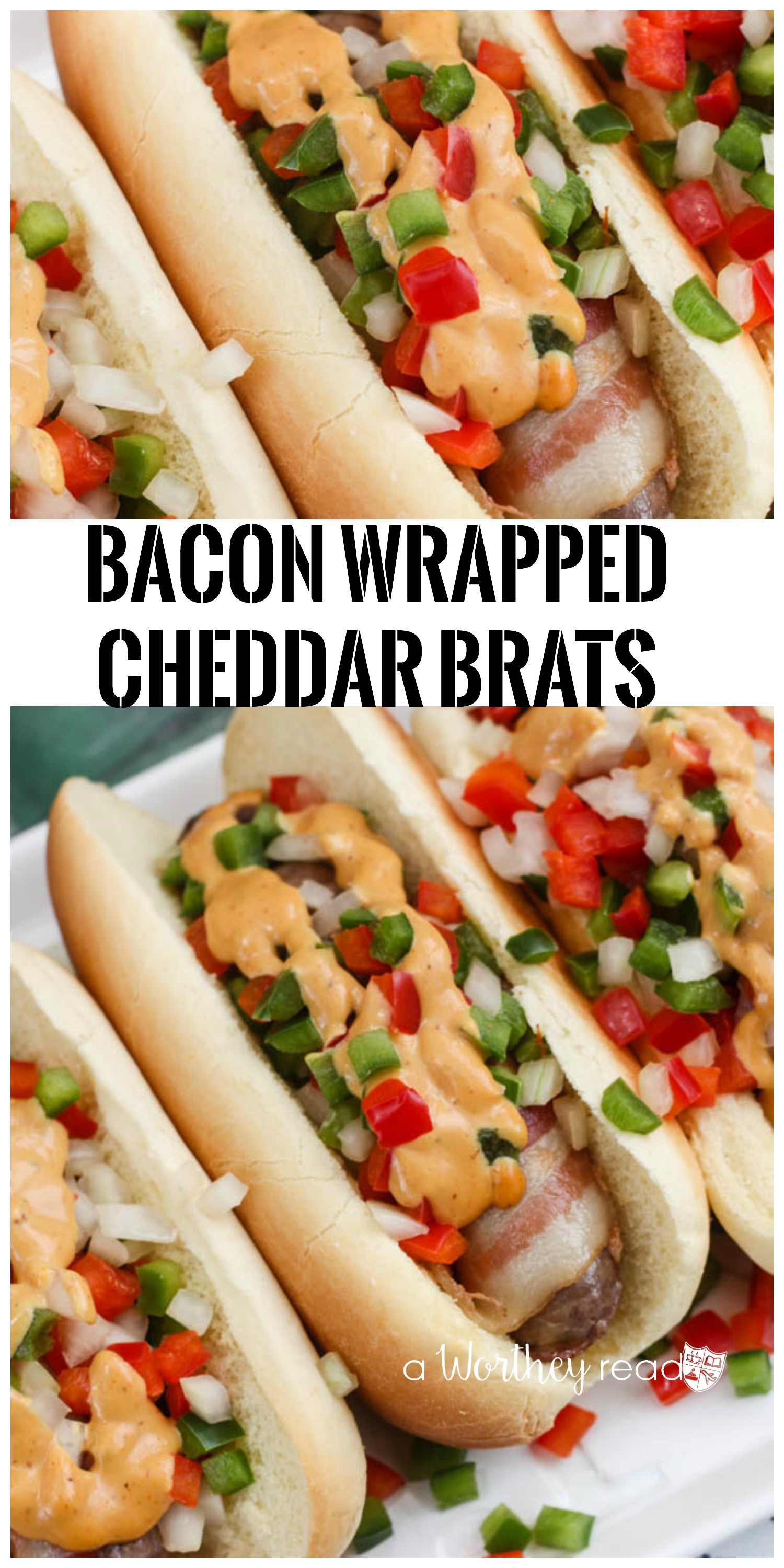 Easy summer time meal under 20 minutes- Bacon Wrapped Cheddar Brats and sweet tomato sauce